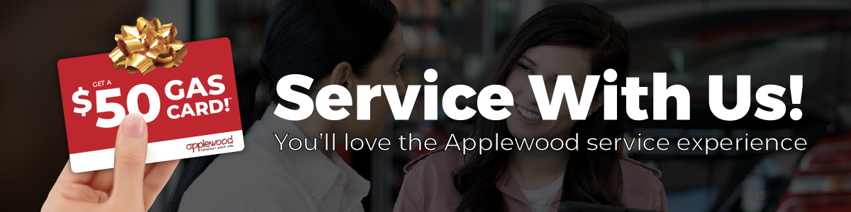 Get a $50 gas card with your next $75+ service appointment with Applewood Auto